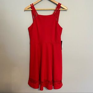 JODI KRISTOPHER red sundress with lace accents